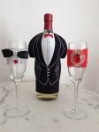 Elegantne crveno,crne čaše za mladence