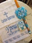 platno, sveća i kutijica za krštenje