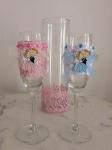 Vesele roze,plave čaše za mladence