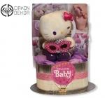 """Cena: 3500 din Torta od pelena sadrži: pelene vel 2, plišana Heloo Kitty i radosnicu """"Dnevnik jedne bebe"""""""