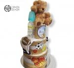Cena: 3500 din/18 Torta od pelena sadrži: pelene vel. 2, pamučni bodić od 0-3 meseca, flašicu i 4 gumene loptice