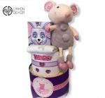 Cena: 3000din Torta od pelena sadrži: Pelene 3, bodić za 6 mes., zewa maramice i plišani miš