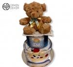 Torta od pelena sadrži: Pelene, bodić i portikla uz plišanog medu