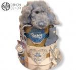 Cena:  3700din /15 Torta od pelene 3, bodic od organskog pamuka (9-12 meseci) 2x čarapice, 2x cucle i prelepi plavi psić