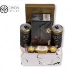 Slatki paket sadrži: Belgijska crna čokolada, 2 italijanska bela vina secco bianco,ferrero rocher. Cena: 2500din /47
