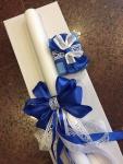 ukrašena sveća za krštenje i kutijica za pramen kose u kutiji