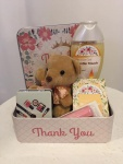 38. Thank you gift box: gel za tuširanje, sapun, ogledalce, meda, metalna kutija Cena: 2800 din